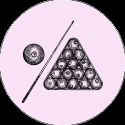 Set Of Billiard Balls In Triangle On Pink Sticker