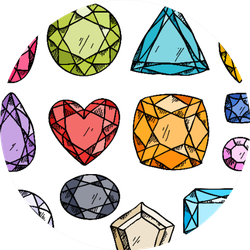 Set Of Colorful Jewels Hand Drawn Gemstones Illustration Sticker