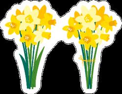 Set Of Daffodil Floral Illustrations Sticker