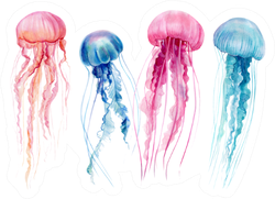 Set Of Jellyfish Colorful Watercolor Illustration Sticker
