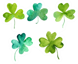 Set Of Lucky Clover Leaves In Watercolor Sticker