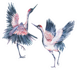 Set Of Vintage Watercolor Pair Red Heads Cranes Sticker