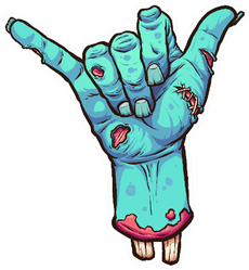 Severed Zombie Hand Making The Hang Loose Shaka Sign Sticker