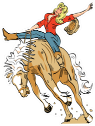 Sexy Vintage Cartoon Cowgirl Sticker