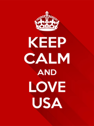 Shadowed Keep Calm and Love USA Sticker