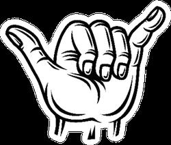Shaka Sign - Vintage Realistic Surf Hand Gesture Sticker