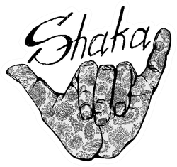 Shaka Surfers Hand In Vintage Style With Lettering Sticker