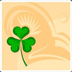 Shamrock Three Leaf Clover Art Illustration Sticker