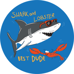 Shark and Lobster Best Dude Sticker