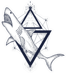 Shark Attack Geometric Triangle Sticker