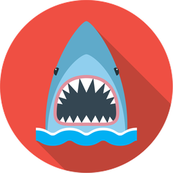 Shark With An Open Mouth Circle Sticker
