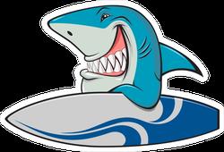 Shark With Surfboard Sticker