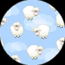 Sheep On Sky, Seamless Pattern Sticker
