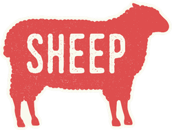 Sheep Silhouette With Grunge Text Sticker