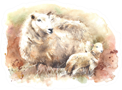 Sheep With Lamb Watercolor Illustration Sticker