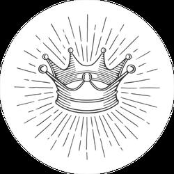 Shining Rays Crown Illustration Sticker