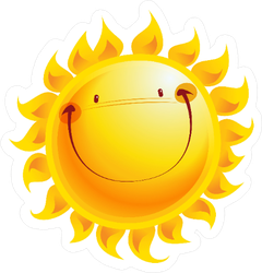 Shining Yellow Smiling Sun Cartoon Sticker