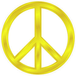 Shiny Yellow Peace Sign Sticker