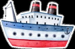 Ship - Watercolor Illustration Sticker