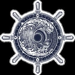 Ship Wheel Compass and Tsunami Wave Sticker