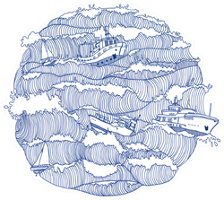 Ships And Boats In Waves Circle Illustration Sticker