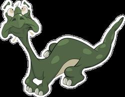 Shocked Little Green Cartoon Lizard Sticker