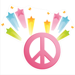 Shooting Star Peace Sign Sticker