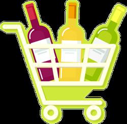 Shopping Cart Full Of Wine Sticker