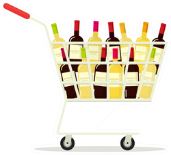 Shopping Cart With A Lot Of Wine Sticker