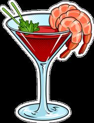 Shrimp Cocktail With Glass Pop Art Sticker