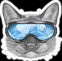 Siamese Cat With Ski Goggles Sticker