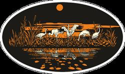 Siberian White Crane Near The Water At Dawn Oval Sticker