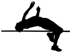 Side Profile Of Boy High Jumper Silhouette Sticker