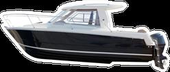 Side View Of Motor Boat Sticker