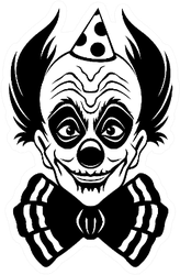 Sign Of Scary Smiling Clown In Black Sticker