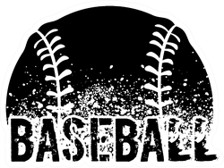 Silhouette Of A Baseball With Dirt Splatter Typography Sticker