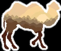 Silhouette Of A Camel Pixel Art Sticker