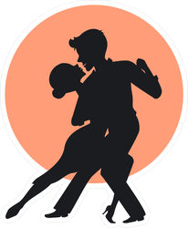 Silhouette Of A Couple Dancing Tango Sticker