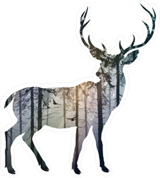 Silhouette Of A Deer In A Forest Sticker