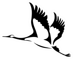 Silhouette Of A Flying Crane Illustration Sticker