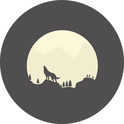 Silhouette Of A Howling Coyote In Front Of The Moon Sticker