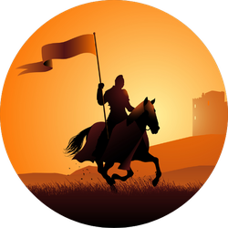 Silhouette Of A Medieval Knight On Horse Sunset Sticker