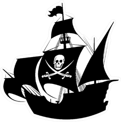 Silhouette Of A Pirate Ship Sticker