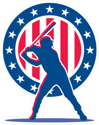 Silhouette Of Baseball Player Sticker