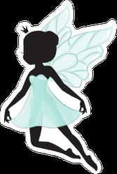 Silhouette Of Beautiful Fairy in Blue Dress