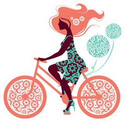Silhouette Of Beautiful Girl On Bicycle Illustration Sticker