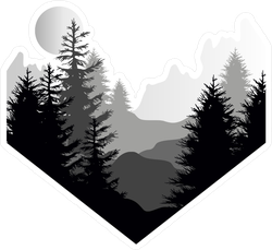 Silhouette Of Coniferous Forest, Mountains And Sun Sticker