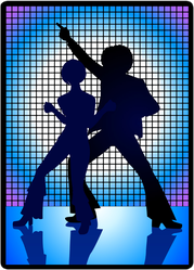 Silhouette Of Disco Couple Dancing In The 70s Sticker