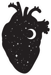 Silhouette Of Human Heart With Universe Sticker