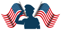 Silhouette Of Military Saluting With US Flag